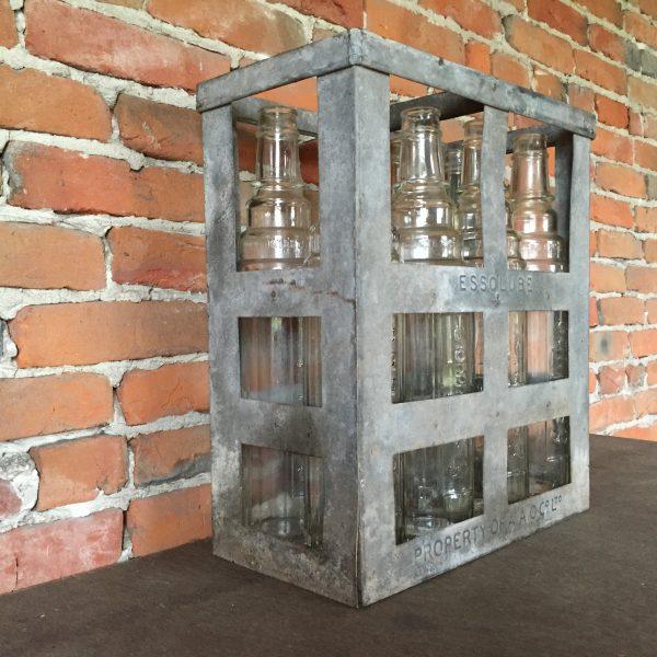 1950's Essolube Motor Oil bottle crate