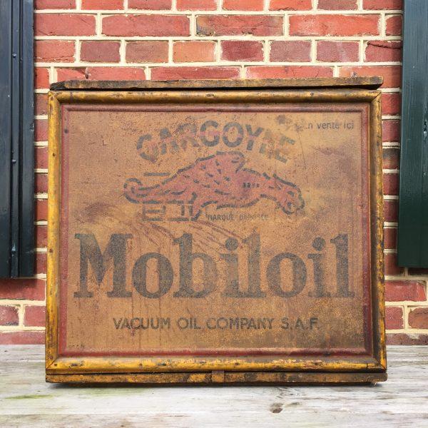 mobiloil gargoyle crate, caisse, bidon, huile