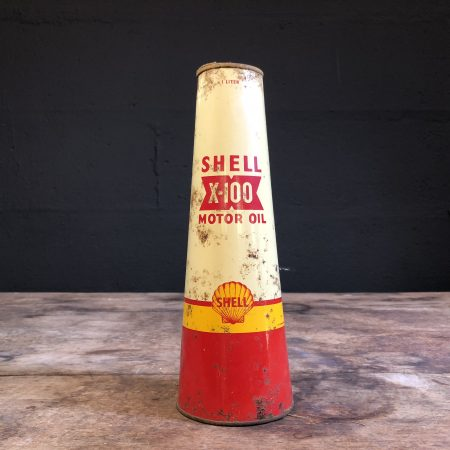 1940's Shell X-100 Motor Oil can