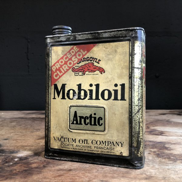 1930's Gargoyle Mobiloil Arctic oil can