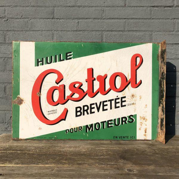 1930's Castrol Huile Pour Moteurs doublesided enamel flange sign