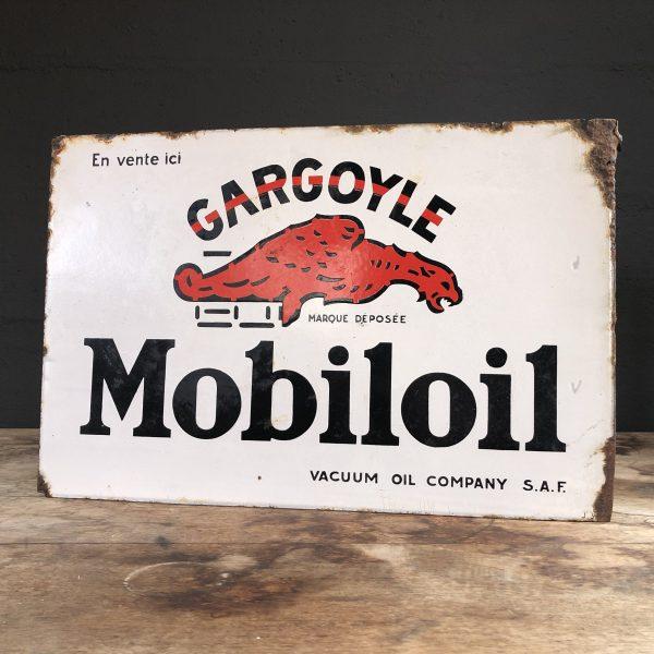 1930's Gargoyle Mobiloil doublesided enamel flange sign