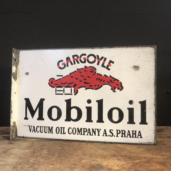 1920's Gargoyle Mobiloil doublesided enamel flange sign