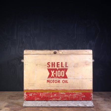 1950 Shell X-100 Motor Oil Can Crate