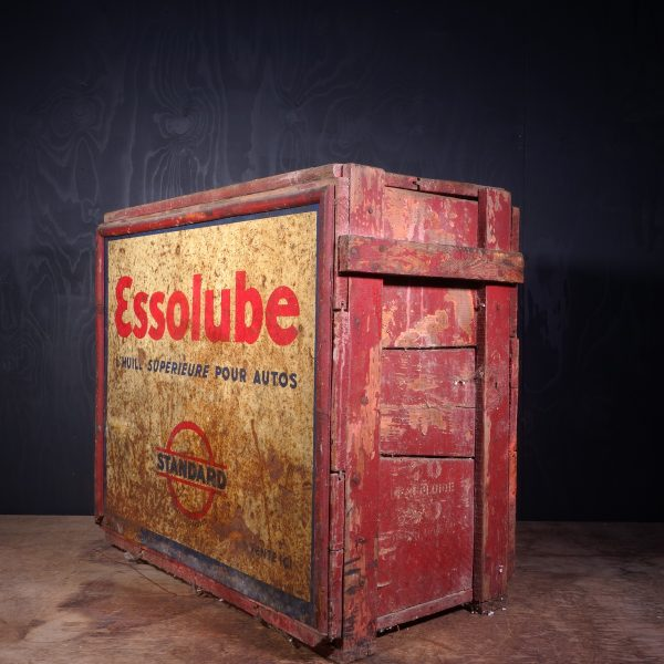 1930 Essolube Motor Oil Can Crate