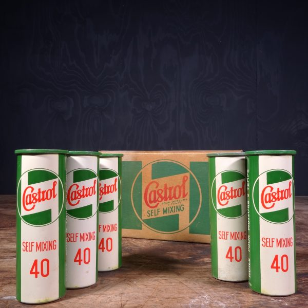 1950 Castrol Self Mixing Motor Oil Cans