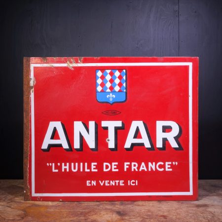 1940 Antar Motor Oil Enamel Flange Sign