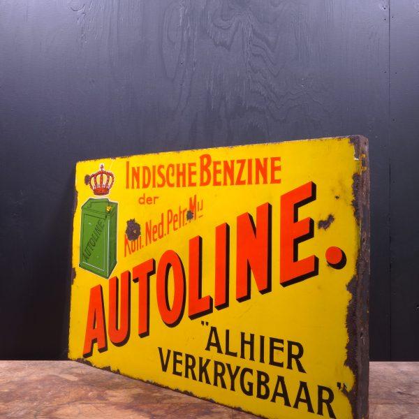1920 Autoline Shell Enamel Flange Sign