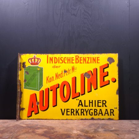 1920 Autoline Shell Enamel Flange Sign