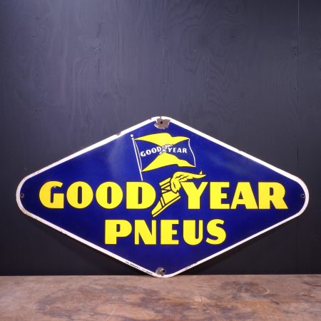 1950 Goodyear Pneus Enamel Sign