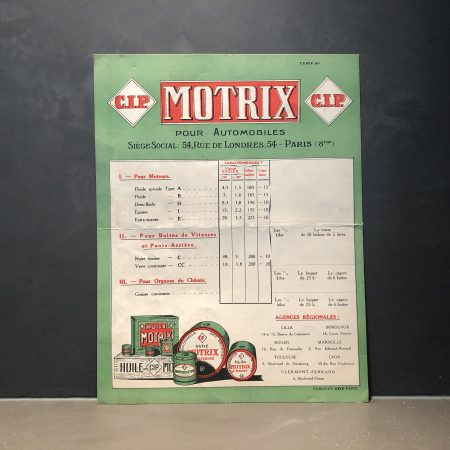 1930 CIP Motrix Pricelist