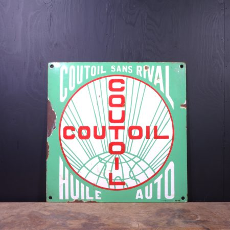 1940 Coutoil Huile Auto Sign