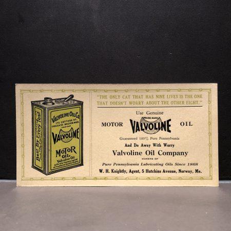 1920 Valvoline Motor Oil Blotter