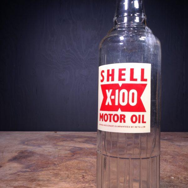 1950 Shell X-100 Motor Oil Bottle