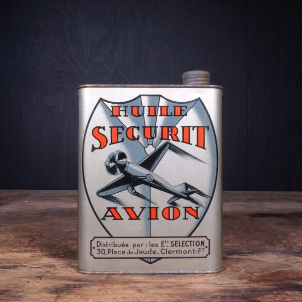 1930 Huile Securit Avion Oil Can